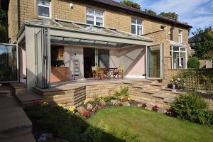 Completed orangery from the front with bi-folding doors spanning the whole width